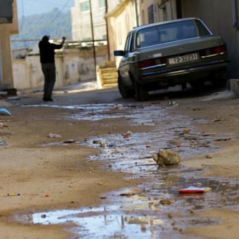 Sewage in the street.