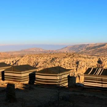 Finally make it to Al-Nawatef Bedouin camp, hidden down a tiny off-road track 5km outside Dana. No electricity or running water, but wonderful, soul-enriching panoramas stretching far across the craggy landscape.