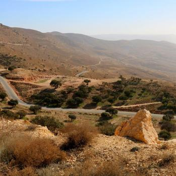 Wending down to tiny village near Petra, where I am staying with a Bedouin man and his French girlfriend.