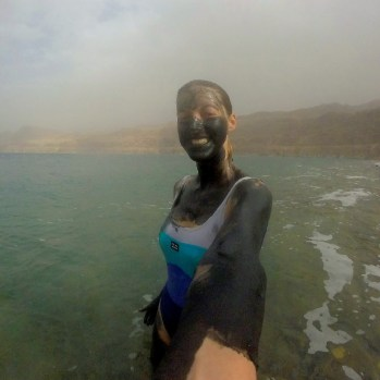 Exposing my glorious new tan in the Dead Sea, which is lovely and toasty due to lying 400m below sea level: the lowest place on earth.