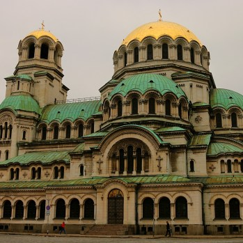 The St. Alexander Nevsky Cathedral in Sofia, built in the Neo-Byzantine style in the late C19th and early C20th. It is one of the largest Eastern Orthodox cathedrals in the world.