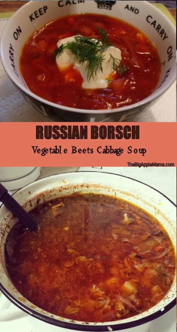 Russian Borsch recipe - Vegetable Beets Cabbage soup
