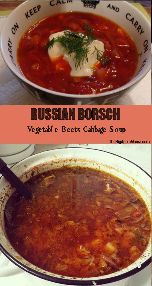 Russian Borsch recipe - Vegetable Beets Cabbage soup