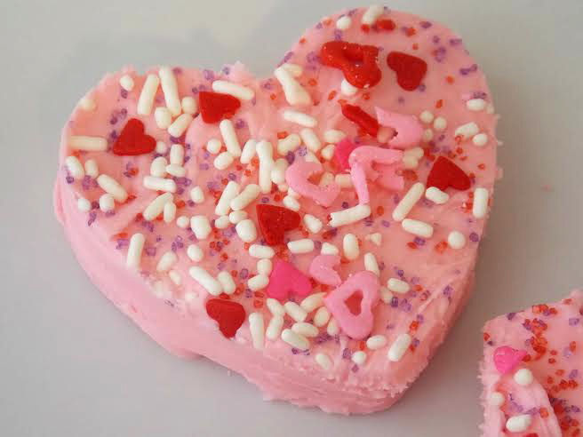 heart shape strawberry fudge