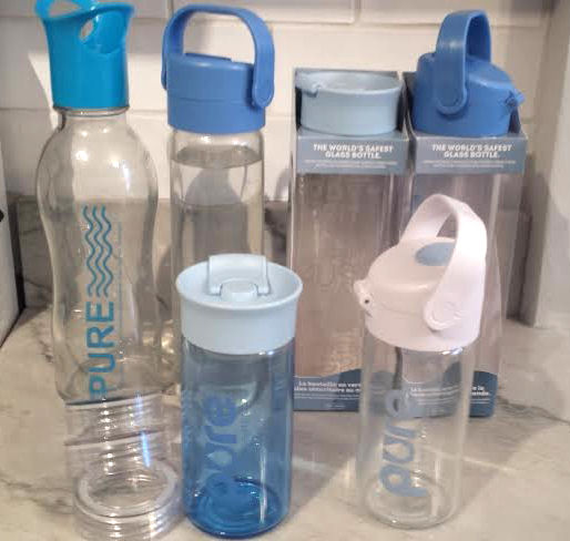pure safe shell glass water bottles