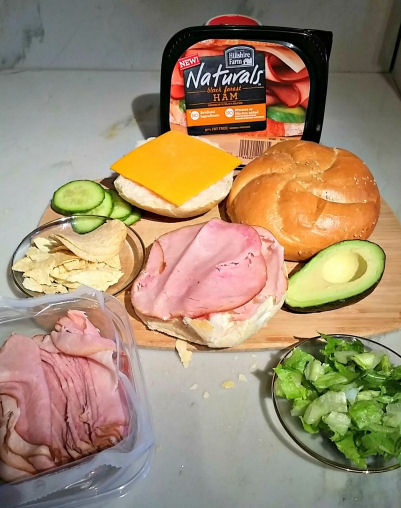 ingredients for ham and cheese sandwich with crunch