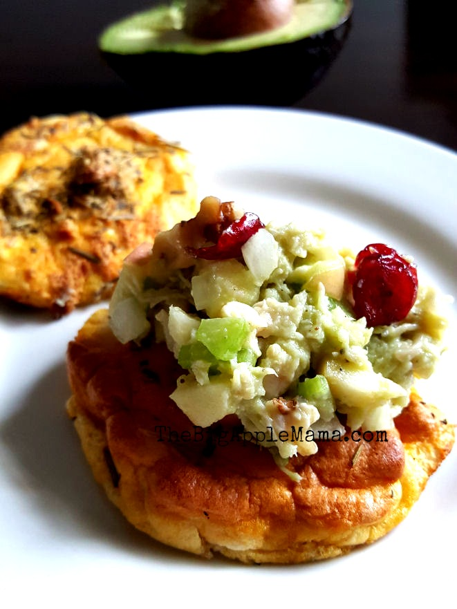 Avocado Cranberry Chicken salad on a Cloud Bread