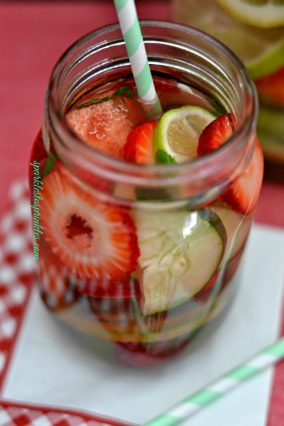 DIY Vitamin Water infused with cucumber, watemelon, strawberries and lemon