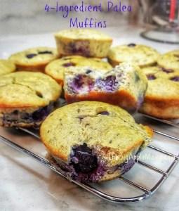 4 ingredient Juicy Blueberry Muffins
