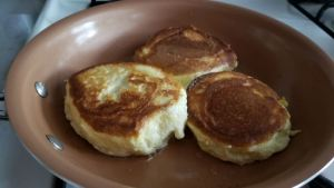 fluffy pancakes on the pan