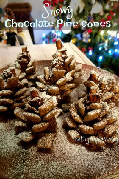 Quick and Easy Snowy Chocolate Pine Cones recipe – Crunchy, Salty, Sweet, Festive, Delicious