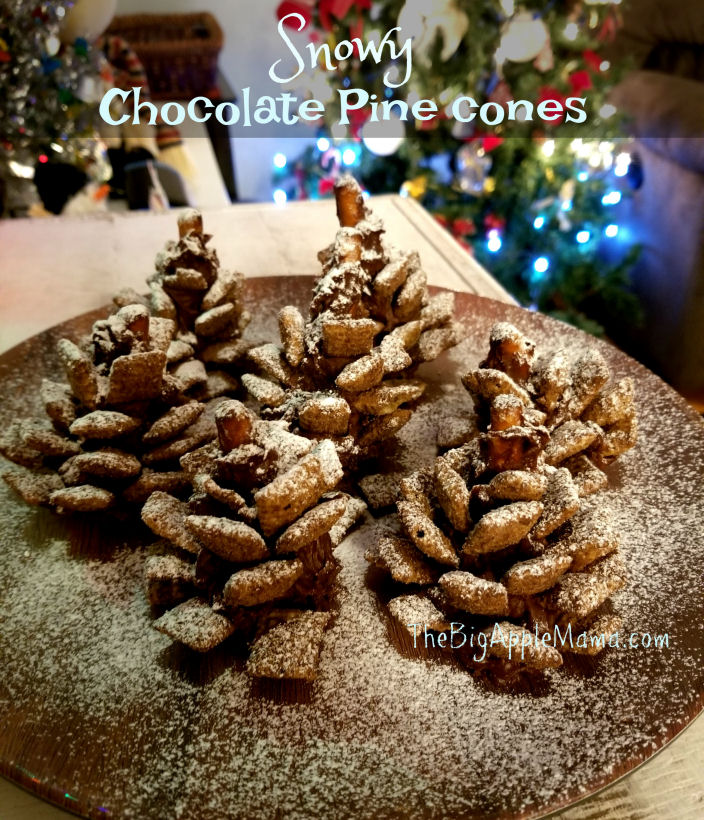 Edible Snowy Chocolate Pine cones - Crunchy, Salty, Sweet, Festive, Delicious
