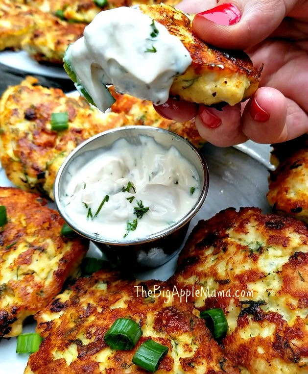 Low carb cheesy chicken fritters with yogurt dill dip
