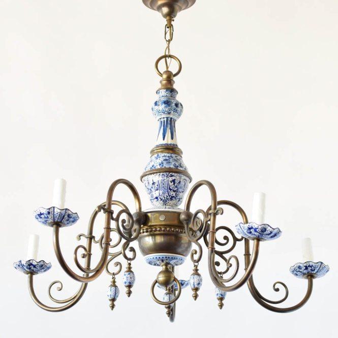 Antique Delft Chandelier
