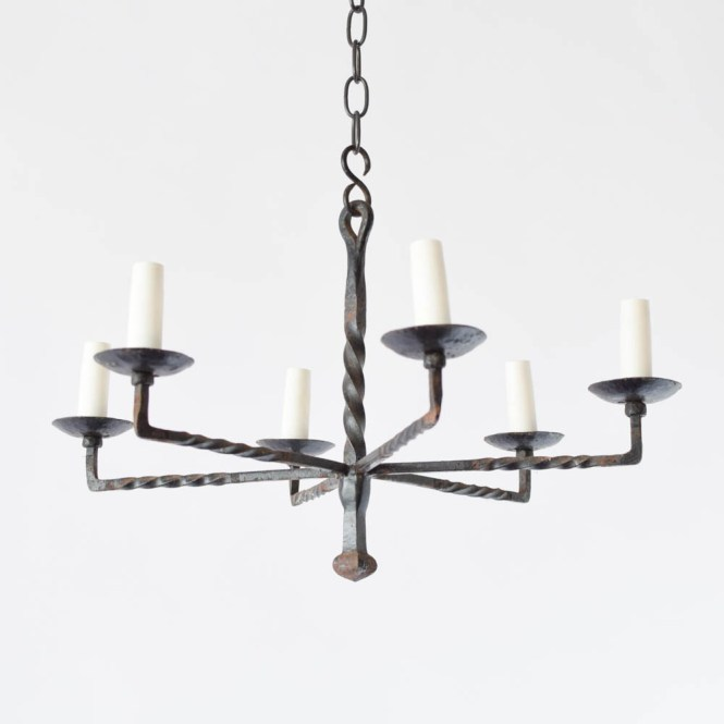 Simple Iron Chandelier Vintage Belgian