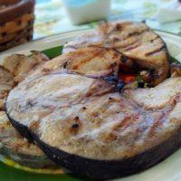 Grilled swordfish steak