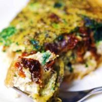 Basil pesto and sun dried tomato quiche