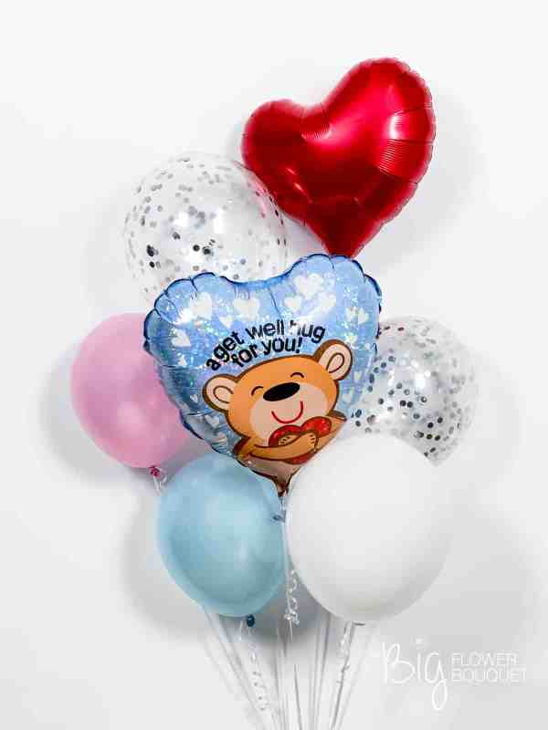 Get well deluxe balloons (foil balloon, three latex balloons, two confetti balloons, heart shape balloon) by The Big Flower Bouquet