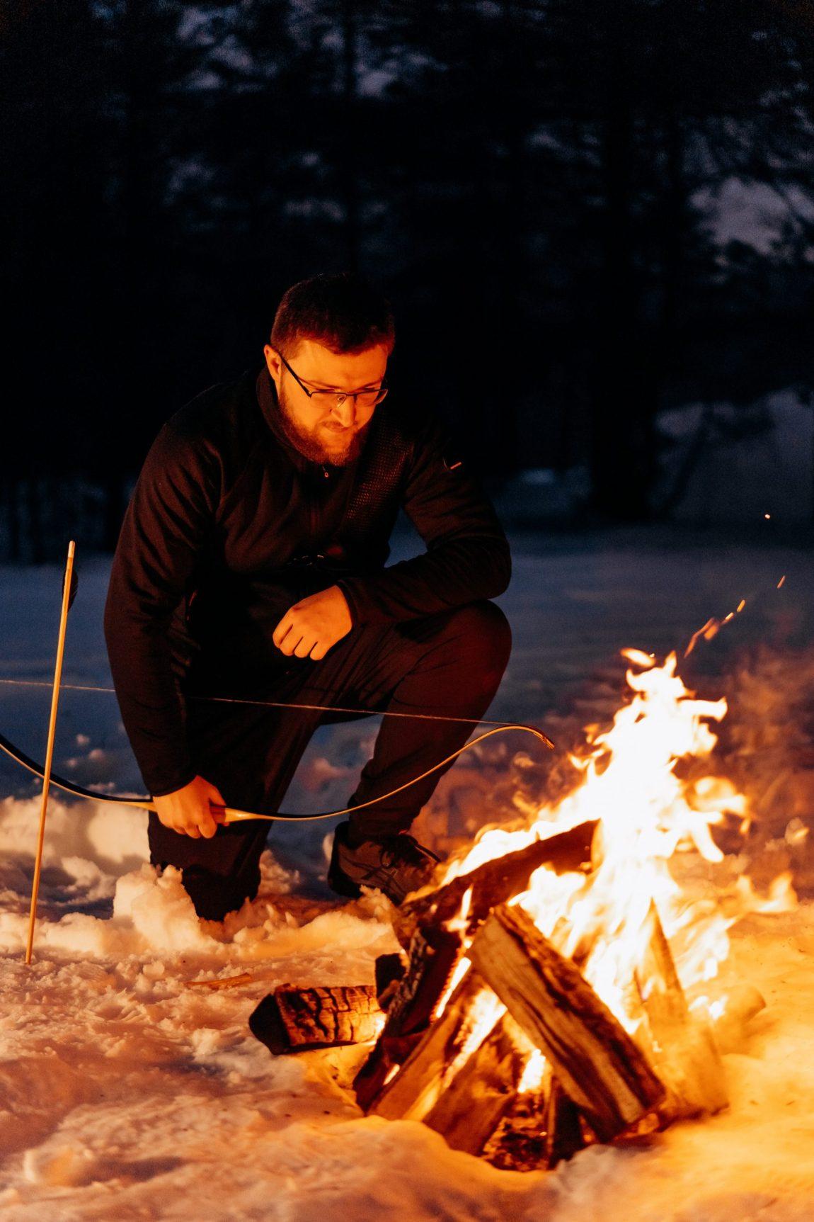 tending a fire