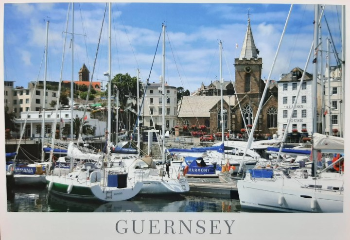 this is Guernsey lovely town St Peter port with the visitor marina in front.