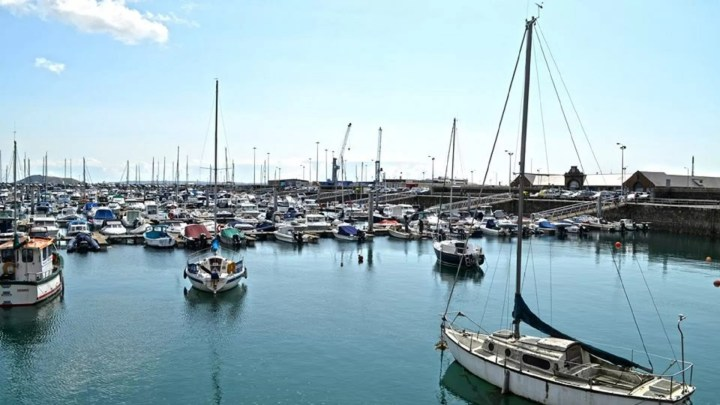 beautiful and expensive yachts in port in Guernsey