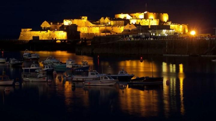Cornet Castle on Guernsey at night