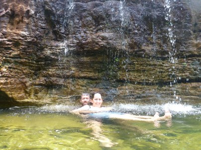 Us under the waterfall - how romantic!
