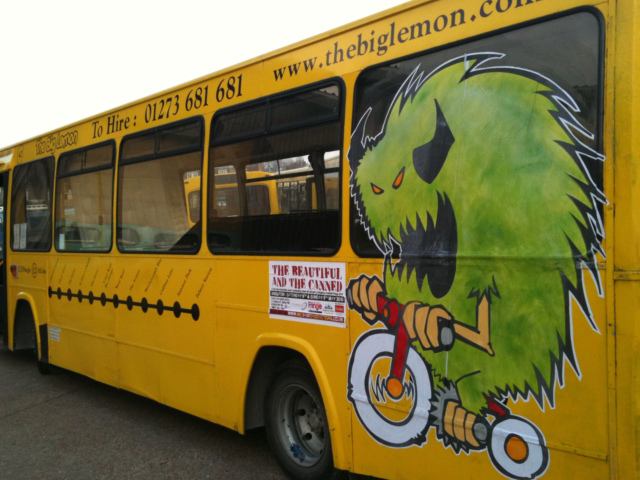 Brighton Youth Centre decorated our buses as part of an exhibition for Brighton Festival in 2009 and 2010.  It's not every day you see a green monster riding a bike and the buses got some funny looks from passers by!