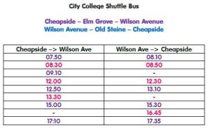 City College Brighton & Hove Big Lemon shuttle bus Timetable Jan 2016