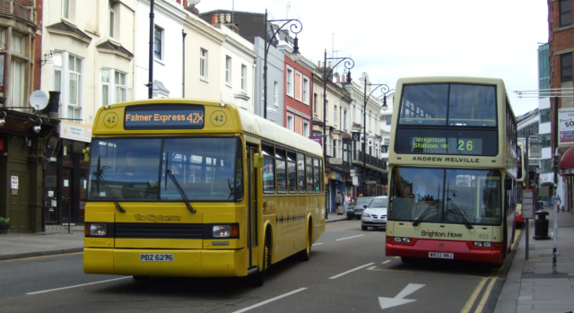 When we first started back in 2007 we ran from Brighton Station to Falmer Station. Here we see our bus just leaving Brighton Station in October 2007