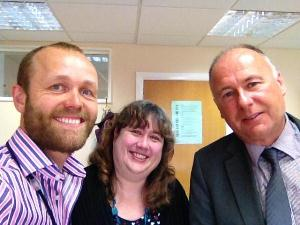 Tom Druitt with Ms Stonier and Mr Green