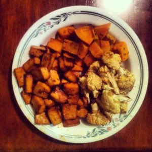 Roasted kabocha, tofu and cauliflower