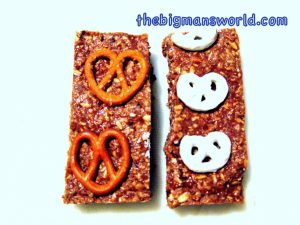No bake triple pretzel protein bars