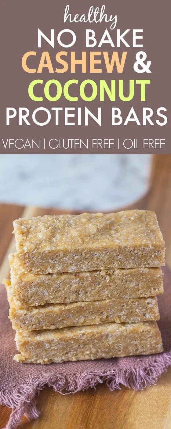 Healthy No Bake Cashew Coconut High Protein Bars- NO nasties and ready in just 5 minutes, these have amazing texture! {vegan, gluten free, oil free recipe}- thebigmansworld.com