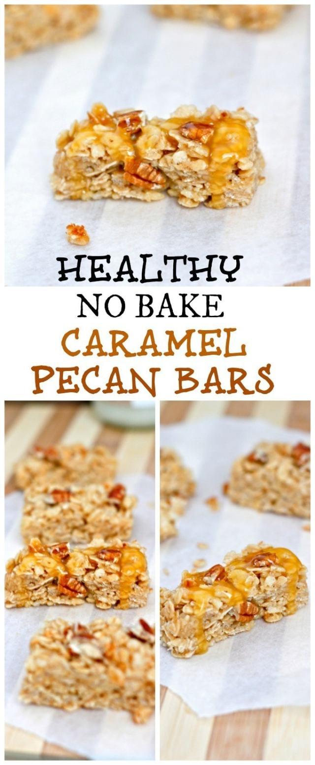 Healthy No Bake Caramel Pecan Granola Bars