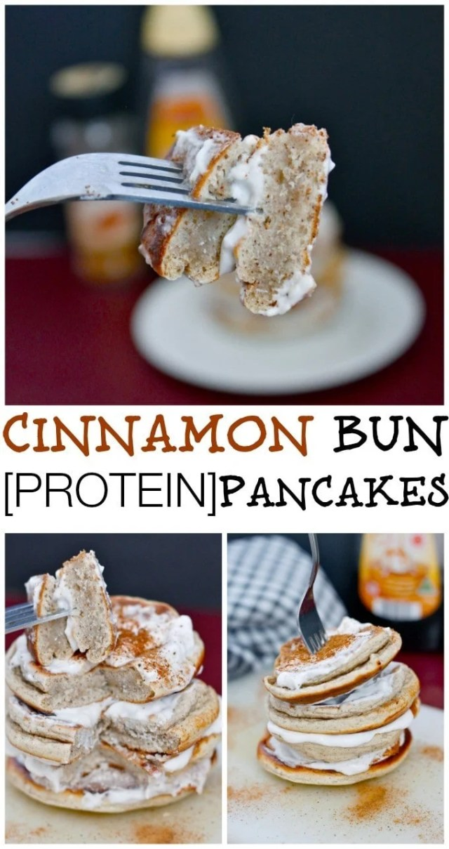 Healthy Thick and fluffy Cinnamon Bun Pancakes made with NO sugar and packed with protein- Seriously, BEST healthy pancakes! {vegan, gluten free, sugar free recipe}- thebigmansworld.com