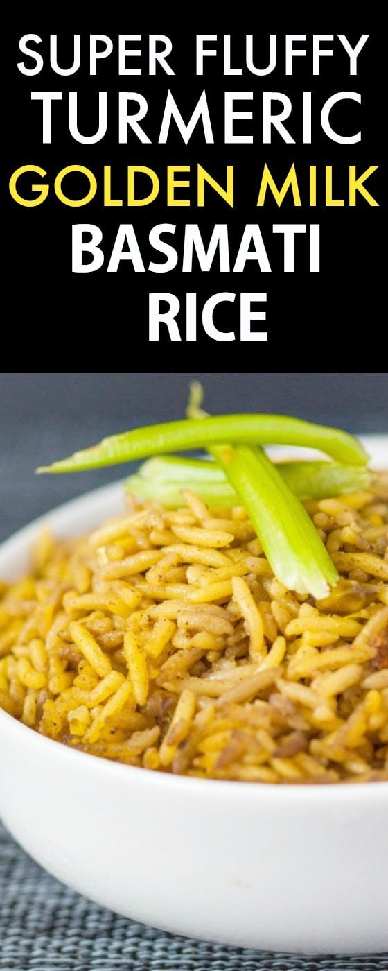 Super Fluffy Turmeric Golden Milk Basmati Rice- Fragrant, easy and LOADED with nutrients and flavor! {vegan, gluten free, dairy free recipe}- thebigmansworld.com