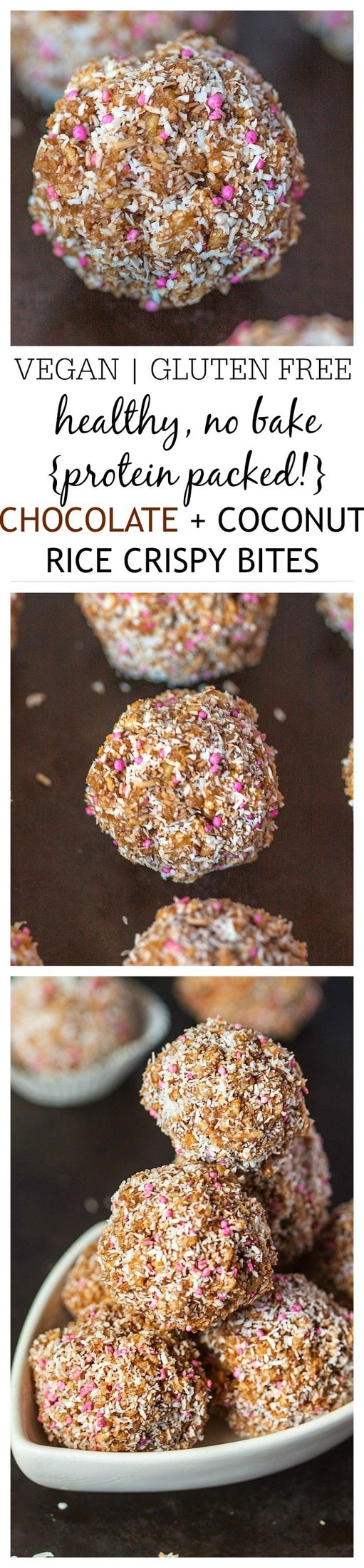 Healthy Chocolate Coconut {Protein Packed!} Rice Crispy Bites- A High protein, sugar free and portable snack- Perfect fuel in between meals or as a pre or post workout boost! Vegan, gluten free, dairy free and refined sugar free! @thebigmansworld - thebigmansworld.com