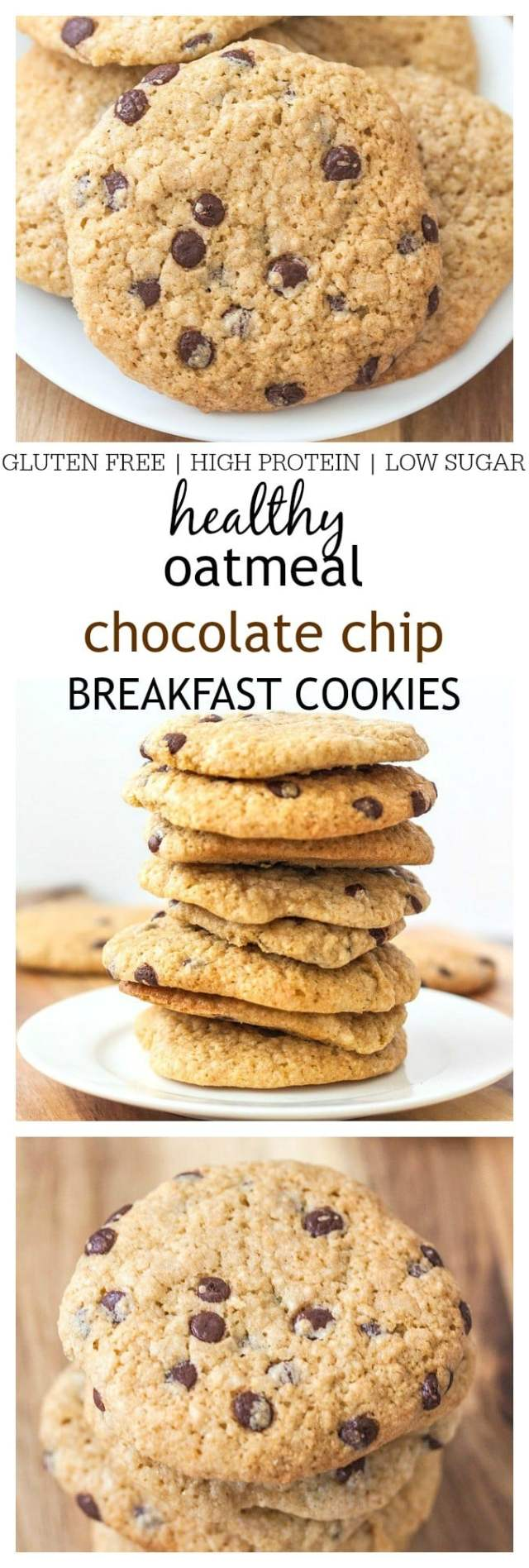 Healthy Oatmeal Chocolate Chip Breakfast Cookies- A healthy, chewy, gluten free breakfast cookie recipe which is high in protein, sugar free and full of complex carbohydrates for a perfect balanced breakfast or mini meal. 1 bowl and 10 minutes is all you'll need for this super simple creation! @thebigmansworld -thebigmansworld.com