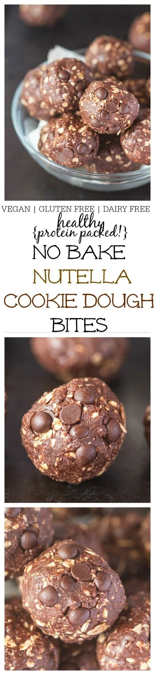 "Healthy {protein packed!} No Bake ""Nutella"" Cookie Dough Bites- Just 1 bowl and FIVE minutes is needed to whip up this NO BAKE ""nutella"" cookie dough bites which are high in protein, vegan, gluten free and dairy free! Perfect for breakfast or snacking! @thebigmansworld- thebigmansworld.com"