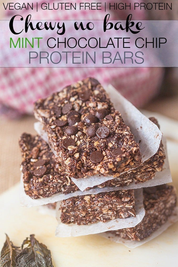 Chewy No Bake Mint Chocolate Chip Protein Bars- These #healthy bars take minutes to whip up and are #vegan #glutenfree #dairyfree and high protein- The perfect grab and go snack and festive for #StPatrickday - thebigmansworld.com