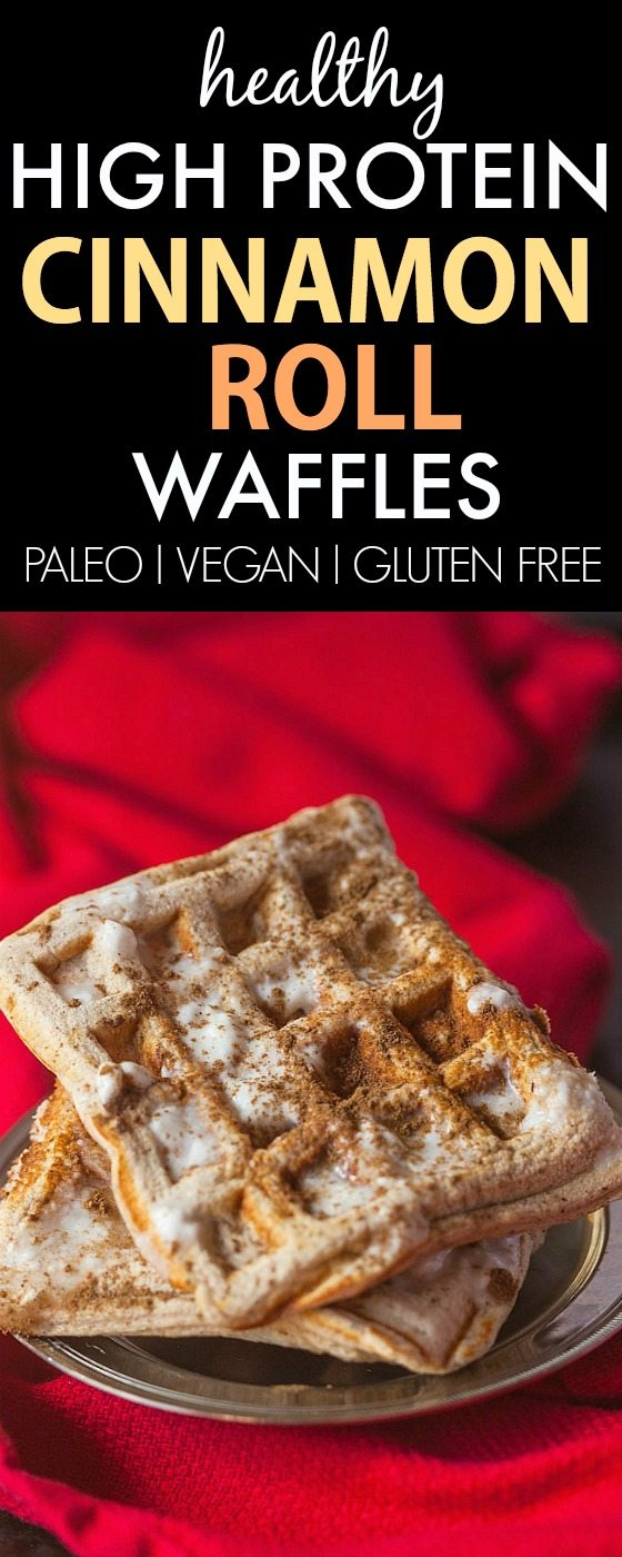 Healthy Cinnamon Roll Waffles- Thick, fluffy and the BEST texture ever, NO butter, oil, grains or sugar! {vegan, gluten free, paleo recipe}- thebigmansworld.com