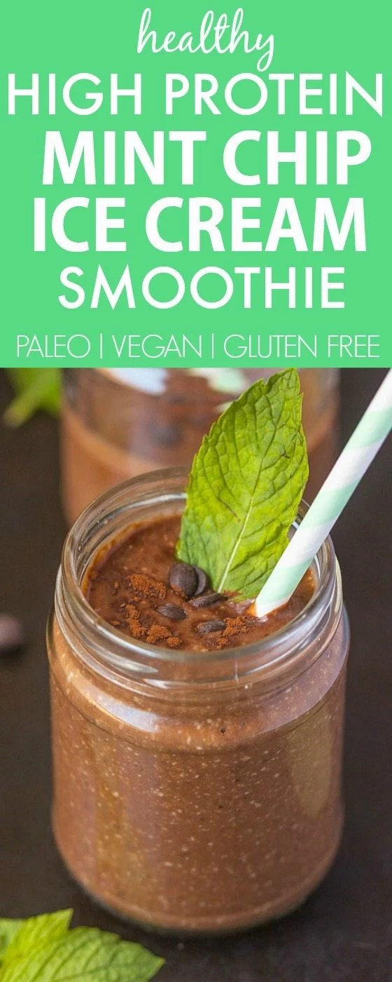 Healthy Mint Chip Ice Cream Smoothie PACKED with protein but with NO sugar, cream or dairy, but 100% delicious! It's just like ice cream! {vegan, gluten free, paleo recipe} thebigmansworld.com