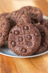 Healthy No Bake Triple Chocolate {protein optional!} cookies- One bowl and 10 minutes is all you'll need to whip up these delicious No Bake cookies- Vegan, Gluten Free and completely sugar free with a protein option! -thebigmansworld.com @thebigmansworld.com