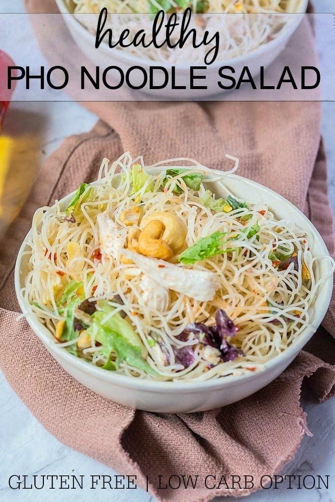 Healthy Pho Noodle Salad- This Healthy Pho Noodle salad is perfect for a weeknight light meal or served alongside your mains! Gluten free and chock full of delicious flavours, the delicious sauce used is paleo and vegan friendly- There is also a low carb version! @thebigmansworld -thebigmansworld.com
