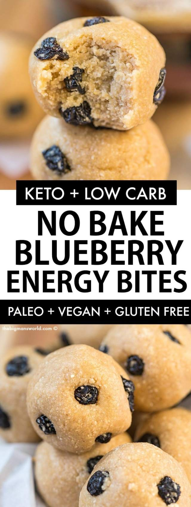 Keto Vegan Blueberry Energy Bites that taste like a blueberry muffin