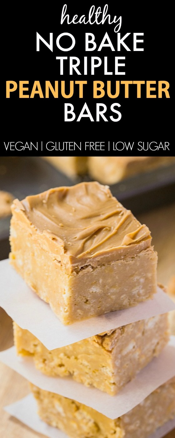 Healthy No Bake Peanut Butter Bars which are a guilt-free snack or dessert which are SO easy to whip up- NO butter, oil or sugar! {vegan, gluten free, dairy free recipe}- thebigmansworld.com