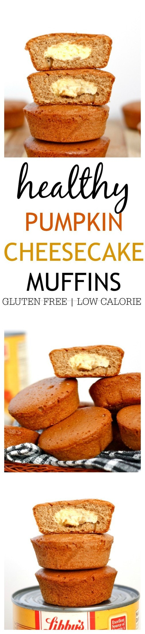 Healthy Pumpkin Cheesecake Muffins- Delicious, impressive yet super simple to whip up- These Healthy Pumpkin Cheesecake Muffins are NOT just reserved for Fall! Gluten free, high in protein and very low in sugar, these are the perfect snack between meals or dessert! @thebigmansworld - thebigmansworld.com