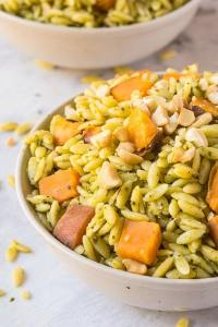 Pesto + Marinated Sweet Potato Orzo Salad- Take your picnics, barbecues and grilling sessions up a notch with this fancy yet super simple side dish- Pesto orzo salad! Filled with marinated slow roasted sweet potato chunks, it's tossed through a vegan pesto making it dairy free, vegan and with a gluten free option! @thebigmansworld - thebigmansworld.com