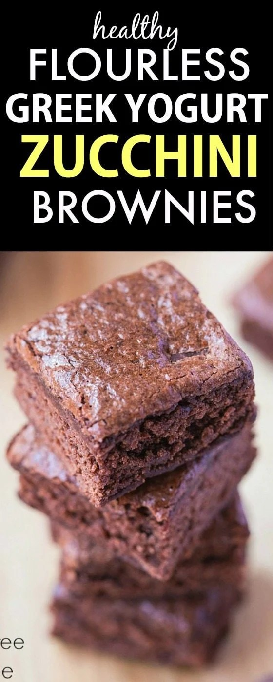 Healthy Flourless Greek Yogurt Zucchini Brownies- Rich, fudgy but made with NO butter, dairy, oil or sugar! {vegan, gluten free, dairy free recipe}- thebigmansworld.com